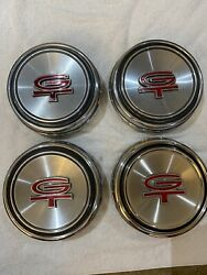 Set Of 4 Polished Stainless Steel Hubcaps Center Caps For 1967-68 Mustang Torino
