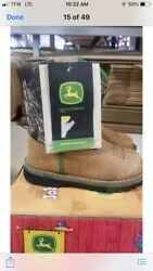 New Dealers John Deere Johnny Poppers 1188 Sz 7.5m Infant Tan/camo Pull On Boots