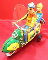 Portillo S.a. Friction Tin Tandem Scooter Tricycle Nr282 Figure Toy Mexico 3449