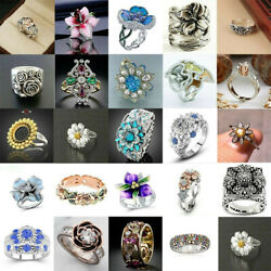 Fashion Women 925 Silver Wedding Jewelry White Sapphire Engagement Ring Size6 10 $1.94