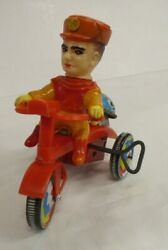 Miura Toy Captain Scarlet Wind-up Tin Tricycle Toy Figure Vintage Japan 3435