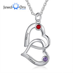 Personalized Women Necklace Name Engraved Birthstone Couple Heart Pendant Chain $10.99