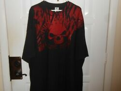 Red Skull Ride Fast Live Hard Double Sided Black T Shirt Xxl