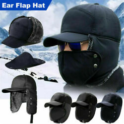 Mens Winter Trapper Trooper Hat With Ear Flap Face Cover Outdoor Ski Hood Cap Uk