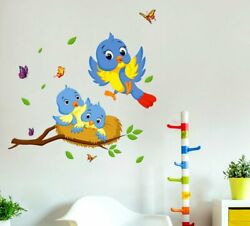 Happy Birds Family Removable Decal Art Mural Wall Sticker Home Room Diy Decor