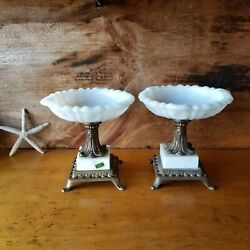 Vintage Pair Of Victorian Style Milk Glass Metal Marble Base Candy Dishes Italy