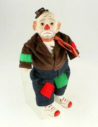 Vintage Victoria Impex Corp.porcelain 13and039and039 Sitting Clown Musical Doll