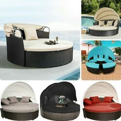 ✨🔥 Outdoor Patio Sofa Set Pe Rattan Wicker Furniture Round Canopy Outside Couch