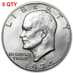 5 1974 S Eisenhower Ike Silver Dollar Brilliant Uncirculated Lot Of 5