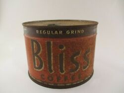 Vintage Full Sealed Unopened Bliss Coffee Tin Can Key Wind 1 Pound