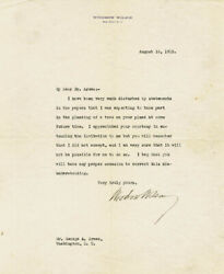 Woodrow Wilson - Typed Letter Signed 08/16/1912
