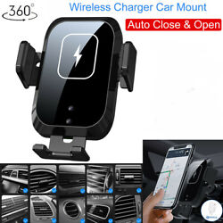 360anddeg Smart Automatic Car Phone Qi Wireless Charging Pad Mount Holder For Apple
