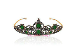 Repro Antique Rose Cut Diamond 8.72ct Silver 925 Emerald Party Style Tiara Crown