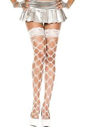 Xl White Silicone Hold Ups Fence Net Stockings Sexy Designer Lingerie P45437 Q