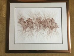 Guillaume Azouley 1983 Framed Original Etching The Derby Excellent Condition