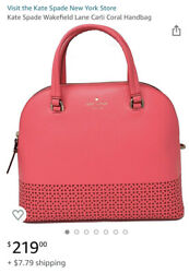 Kate Spade Wakefield Lane Carli Satchel Crossbody Leather Bag Coral $58.50