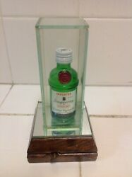 Vintage Mini Empty Bottle Of Tanqueray On Glass Pedestal With Musical Wind Up,