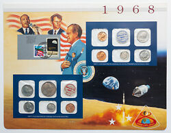 1968-pandd U.s Mint Set Silver Kennedy Apollo 8 Color Toned Sealed Ms Bu Coins