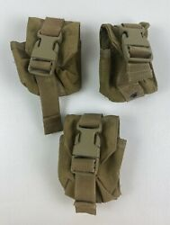 Lot Of 3 Ea. Eagle Industries Molle Ii Coyote Grenade Pouch Mc-fgc-1-ms-coy