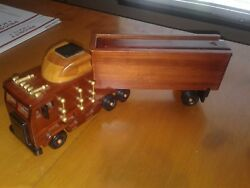 Handmade Cabover Semi Truck And Trailer Solid Wood Amish Style W/slide Top Storage