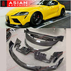 Carbon Body Kit For Toyota Supra A90 19+ Front Lip Side Skirts Spoiler Diffuser