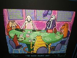 Rare Matt Rinard The House Always Wins Dogs Cat Playing Poker Signed Le 178/225