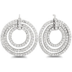 3ct Natural Diamond Circle Earrings In 14k White Gold For Black Friday Gift