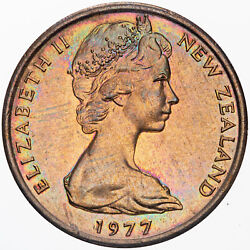 1977 New Zealand 1 Cent Proof Rainbow Circle Color Toned Queen Elizabeth Coin
