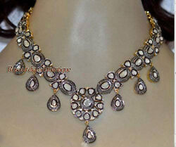 Repro Antique Rose Cut Diamond 12.34ct Silver Beautiful Polki Necklace For Party