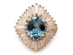 14k Yellow Gold 5.17ct Oval Blue Topaz Baguette Cut Diamond Halo Ring Size 6
