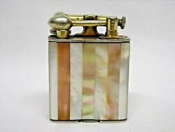 Vintage Clark Lift Arm Lighter 18k Gold Ep Mother Of Pearl Abalone Inlay - Rare