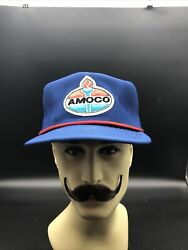 Vintage Rare Hipster Trucker Hat Amoco Gas Oil Patch Snapback