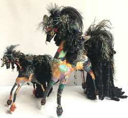 Js Chubaska 2 Stunning Paper Mache Horses Hand Painted With Feathers And Beads