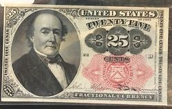 1874 25c Fractional Currency Fr1308 Long Key Almost Uncirculated 5th Issue