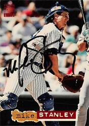 Mike Stanley Autographed Baseball Card Yankees 1994 Topps Stadium Club 271
