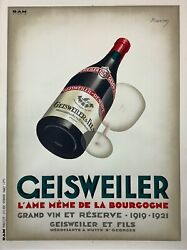Geiswieler Original Vintage 1921 French Stone Lithograph Advertising Poster