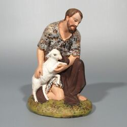 Vintage Old French Traditional Santon Nativity Figurine Shepherd With Lamb Sheep