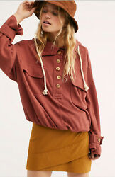 New Free People Beach Small Sail Away Hoodie Pocket Long Sleeve Terra Cotta $108 $31.99