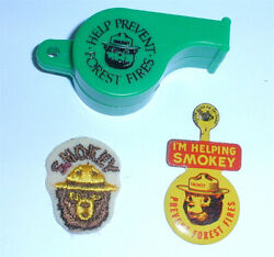 Nice Vintage Smokey The Bear Embroidered Patch, Metal Pin, And Plastic Whistle