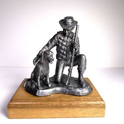 M.a. Michael Ricker Pewter 1985 Hunter With Dog Sculpture Vintage Figurine
