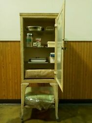 Vintage Medical Steel Glass Cabinet With Or Without Contents