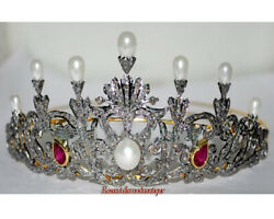 Victorian Rose Cut Diamond 9.14ct Silver Ruby Pearl Engagement Xmas Party Tiara
