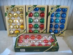 4 Boxes Pyramid Jumbo Red And Green Gold Blue Glass Ball Shiny Christmas Ornaments