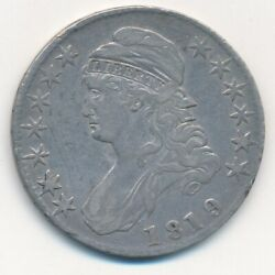1819 Capped Bust Silver Half Dollar 9/8 Large 9-nice Circulated Half-ships Free