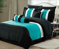 New Empire Home Teal Black 3-tone Comforter Set End Of Year Sale 50 Off