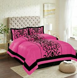 New Empire Home Pink Donna Damask Comforter Set End Of Year 50 Sale