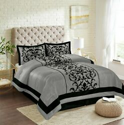 New Empire Home Gray Donna Damask Comforter Set End Of Year 50 Sale