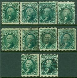 Edw1949sell Usa 1861 Scott 68a. 10 Stamps. Dark Green. Used. Catalog 850.00.