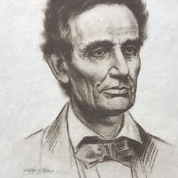 Historic Signed Picture Of President Abraham Lincoln