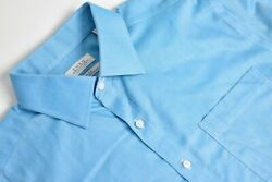 Enro Solid Neon Blue Point Collar Dress Shirt Size 16.5 Tall 38/39